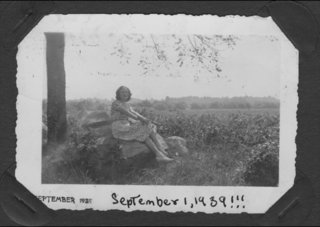 "A photo taken while she was a nature study counselor in Michigan. It was taken the day the war began, before she realized it. Below she has written, ""September 1, 1939!!!"""