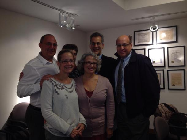 Ken Goldman, Lauren Roscher Boyadjis, Tony Boyadjis, Bill Schlosser, and, in front, Beth Carroll and me.