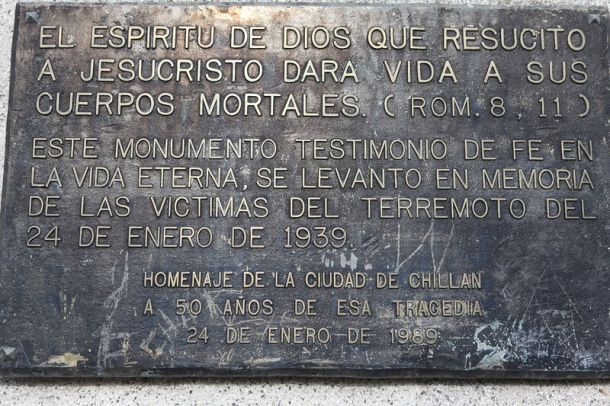 50th anniversary  of 1939 Chilean Earthquake Commemoration placard