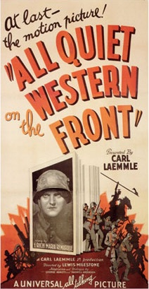 Poster for the movie All Quiet on the Western Front (1930), featuring star Lew Ayres