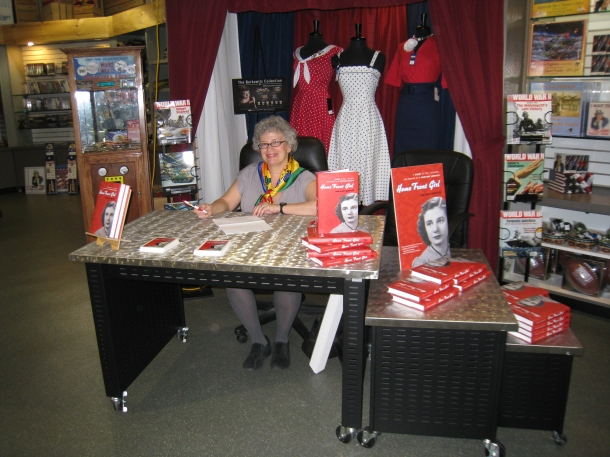 In the National World War II Museum Gift Shop, preparing for the signing