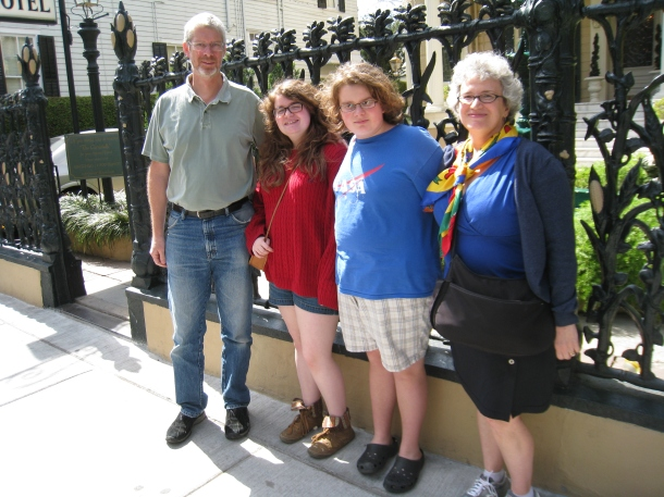With Jim, Sarah and John by a lovely corn stalk iron fence outside a hotel in the French Quarter
