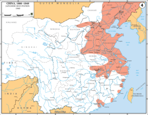 This map shows Japanese incursions into China in 1940