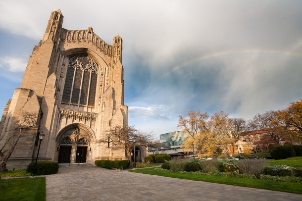 Rainbow over Rockerfeller Chapel on the University of Chicago campus.  Joan and Bob were married there on June 19, 1943. Photo courtesy of http://jamiemanley.blogspot.com/2013/01/uchicago-fall-2012-part-ii.html