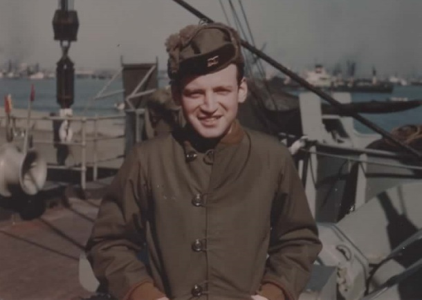 Sidney on board USS George Clymer, Jan '52.