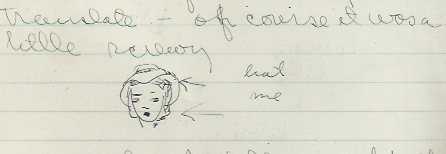 Joan's doodle of her hat, March 1, 1939