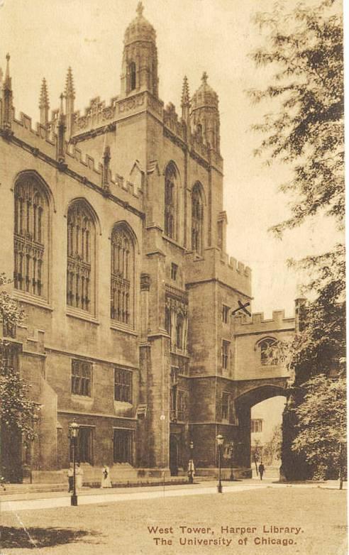 Harper Library postcard, 1928