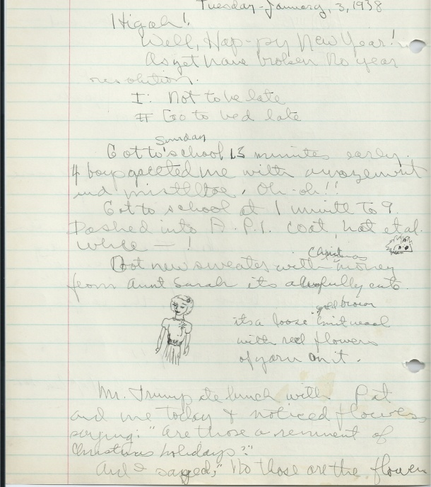 This passage from January 3, 1939 shows Joan's doodle of the sweater she describes in the passage.