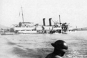 USS Panay sinking after Japanese air attack. Nanking, China. 12 December 1937.