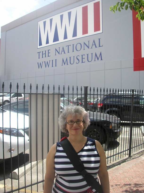 Susie in front of the National World War II Museum, New Orleans.  Photo by Jim Kilfoyle.