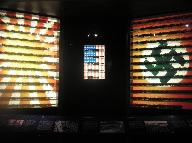 Display show proportional number of troops in Japan, U.S. and Germany in the late 1930s: photo from National World War II Museum, New Orleans.