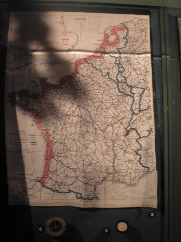 Paratrooper's silk scarf with map of escape routes if lost behind enemy lines; photo from National World War II Museum, New Orleans.