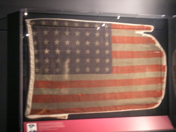 Flag that was carried on Landing Craft, Tank, Rocket 439 on D-Day;  photo from National World War II Museum, New Orleans.