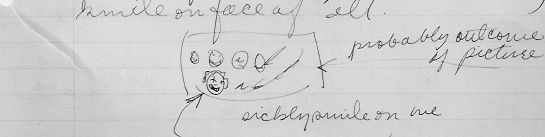 November 14, 1938.  Doodle by Joan of her class and teacher laughing at her trying to find Volume 1 (not 2) of Thucydides.  She has lost a tooth.