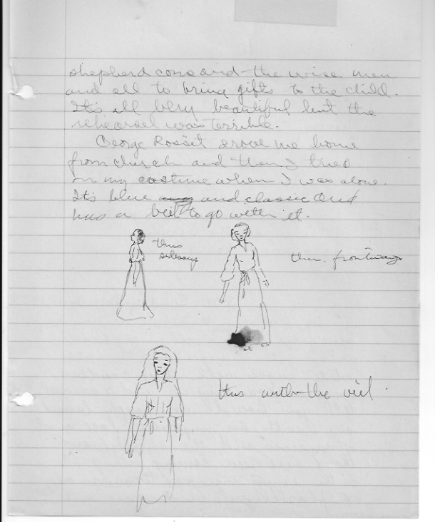 December 17, 1938.  Joan doodled different views of her in her costume.