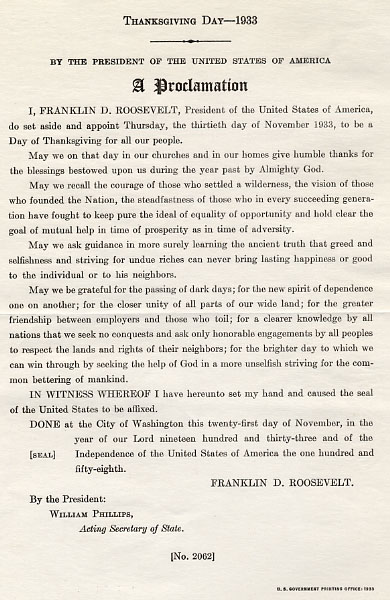 Thanksgiving Proclamation 1933