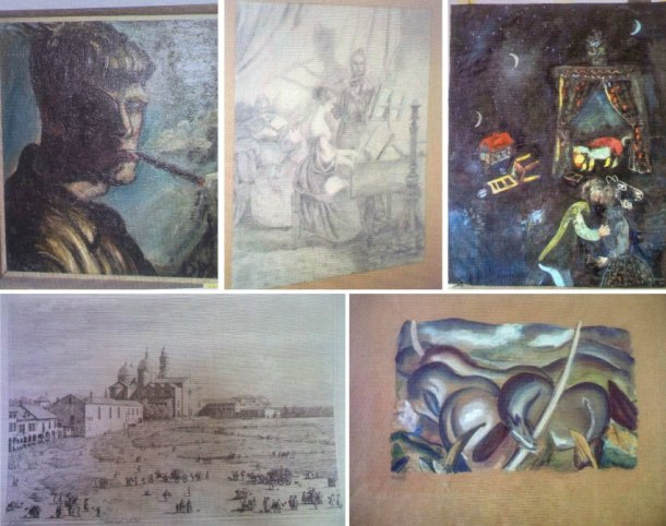 "A sampling of works from the spectacular Munich find, clockwise from top left: An unknown self-portrait by Otto Dix thought to date to 1919, a Biedermeier-style etching of a couple playing music by Carl Spitzweg (1808-1885), a painting by Belarusian-French artist Marc Chagall (1887-1985), an etching of Padua by the Italian painter Canaletto (1697-1768) and ""Landscape with Horses"" by German painter Franz Marc.  From the Spiegel article noted in this post."