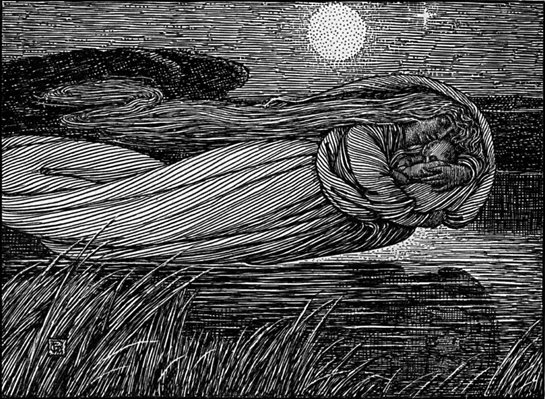 "George Wooliscroft & Louis Rhead. ""The Lady of the Lake Steals Lancelot"" from Tennyson, Alfred. Idylls of the King: Vivien, Elaine, Enid, Guinevere. New York: R. H. Russell, 1898."