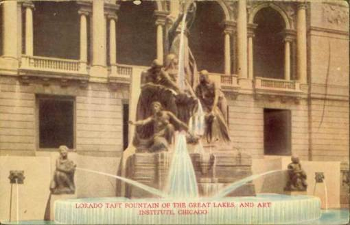 Fountain of the Great Lakes. From 1915.  http://chuckmanchicagonostalgia.wordpress.com/2010/12/07/postcard-chicago-art-institute-fountain-of-the-great-lakes-close-up-greenish-early/postcard-chicago-art-institute-fountain-of-the-great-lakes-close-up-greenish-early/