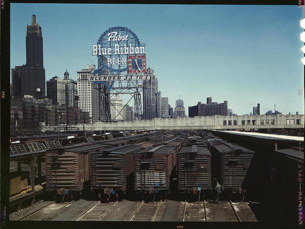 General view of part of the South Water Street freight depot of the Illinois Central Railroad Chicago, Illinois, May 1943