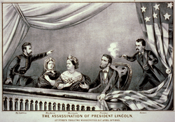 The Assassination of President Lincoln *from left to right: Major Henry Rathbone, Clara Harris, Mary Todd Lincoln, Abraham Lincoln, and John Wilkes Booth