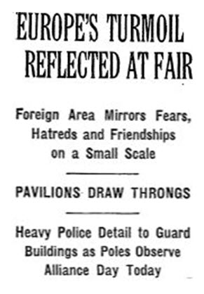 Article from the first week of World War II, showing how the Fair reflected the world's turmoil.