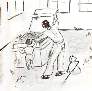 This illustration by Mary shows how people tried to find food in the courtyard.