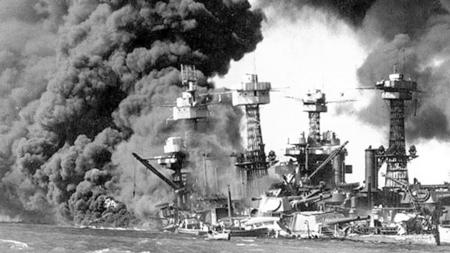 The USS West Virginia burns and sinks after the Japanese attack on Pearl Harbor, Hawaii, on Dec. 7, 1941. (Handout, Reuters).
