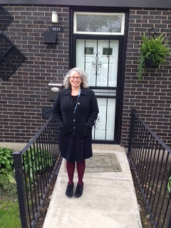Me (Susie) in front of 5501 South Woodlawn Ave. where my grandparents lived.