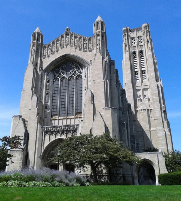 Rockefeller Chapel in lovely weather.