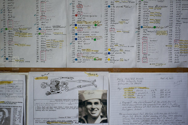 Notes in Ray Emory's home office in Kahala, Hawaii. A quest by Mr. Emory, who survived the attack on Pearl Harbor, for better grave markers helped strengthen the push to identify the battleship Oklahoma's unknown sailors.