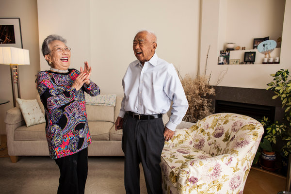 Mr. Satoda with his wife, Daisy, who had also been detained at an internment camp during World War II. Mr. Satoda's diary is part of a Yale exhibition on Japanese-American internment. Credit Ramin Talaie for The New York Times