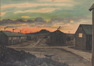 A watercolor by Charles Erabu Mikami depicting the Topaz internment camp in Utah. Charles Erabu Mikam, via Beinecke Library, Yale University