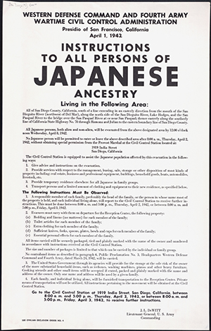 "Posted prominently in public, posters like this one instructed ""all person's of Japanese ancestry"" to report for ""evacuation"" by April 3, 1942. Many internees lost their property as they rushed to store and sell their belongings to pack only what they could carry. From http://bit.ly/1XHnFAa"