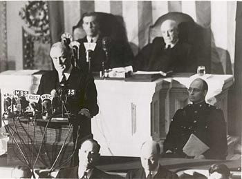 FDR delivering his speech on Dec. 8, 1941