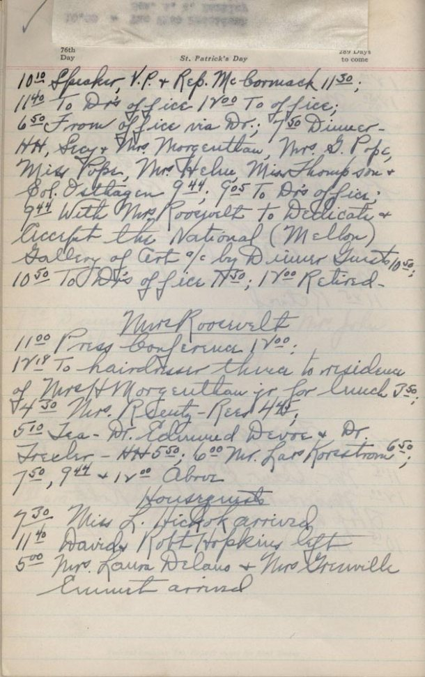Note Mrs. Roosevelt's diary as noted by a stenographer and Lorena's name