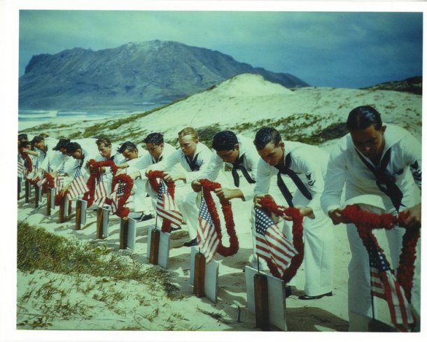 "Sailors paying tribute in 1942 to casualties of the Pearl Harbor attack in the new Smithsonian Channel series ""The Lost Tapes."" Credit National Archives and Records Administration, via Smithsonian Channel"